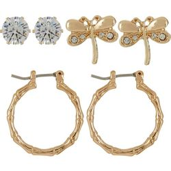 Bay Studio Cubic Zirconia Dragonfly Hoop Earring Set