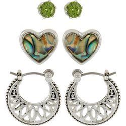 Bay Studio Green CZ Heart & Hoop Earring