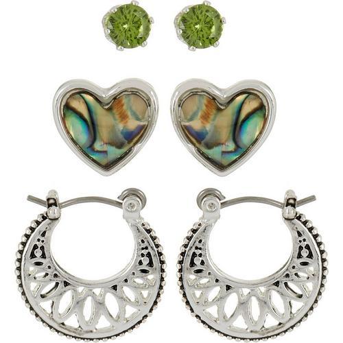103329519 Bay Studio Green CZ Heart & Hoop Earring Set | Bealls Florida