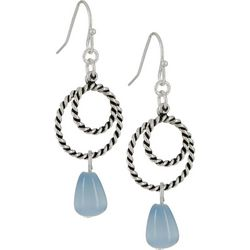 Bay Studio Textured Rings Blue Glass Drop Earrings