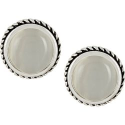 Bay Studio White Cateye Button Clip On Earrings