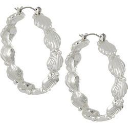 Bay Studio Silver Tone Shell Hoop Earrings