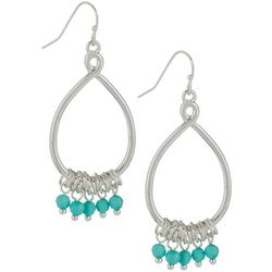 Bay Studio Silver Tone & Aqua Blue Bead Drop Earrings