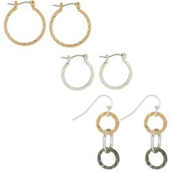 Bay Studio 3-pc. Tri Tone Hoop Earring Set