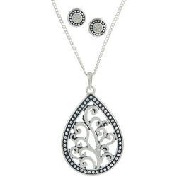 Rhinestone Stud & Scroll Teardrop Necklace Set