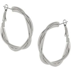 Bay Studio Silvertone Twist Clutch Hoop Earrings