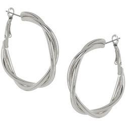 Bay Studio Silvertone Twist Clutch Hoop Earrings