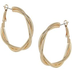 Bay Studio Goldtone Twist Clutch Hoop Earrings