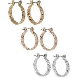 Bay Studio 3-pc. Textured Tri-Tone Hoop Earring Set
