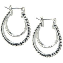 Bay Studio Silver Tone Bead Texture Double Hoop Earrings