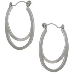Bay Studio Silvertone Double Oval Hoop Earrings