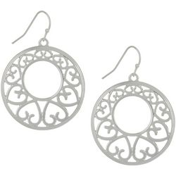Bay Studio Open Scroll Silver Tone Hoop Earrings