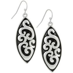 Bay Studio Open Scroll Silver Tone Oval Drop Earrings