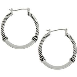 Bay Studio Rope Accent Silver Tone Hoop Earrings