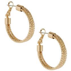 Hammered Gold Tone Hoop Earrings