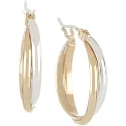Bay Studio Small Two Tone Twist Hoop Earrings
