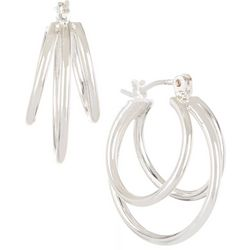 Bay Studio Silver Tone 3 Row Hoop Earrings
