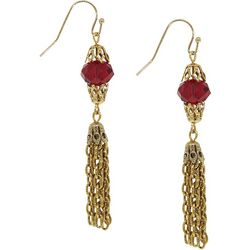 1928 Jewelry Red Bead Gold Chain Tassel Earring