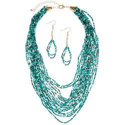 Bay Studio Aqua Blue Multi Row Seed Bead Necklace Set
