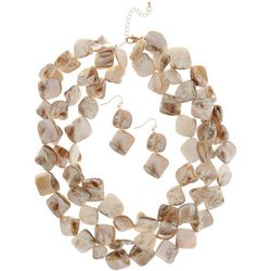Bay Studio 3 Row Shell Torsade Necklace Set