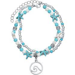 2 Row White & Aqua Starfish Ankle Bracelet