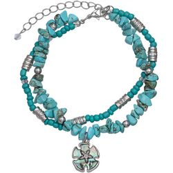 2 Row Turquoise Chip & Sanddollar Anklet