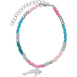 Manatee Charm Beaded Anklet