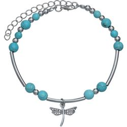 Turquoise Bead & Dragonfly Charm Anklet