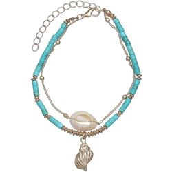 Double Row Bead & Cowrie Shell Anklet