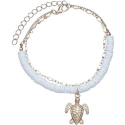 White Puka Shell & Turtle Charm Anklet