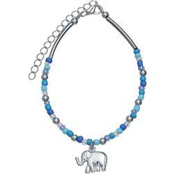 Blue Multi Bead & Elephant Charm Anklet