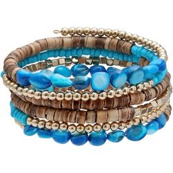 Bay Studio Wood And Turquoise Beaded Coil Bracelet