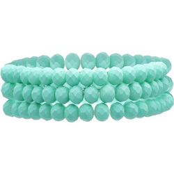 Bay Studio Three Row Aqua Glass Stretch Bracelets