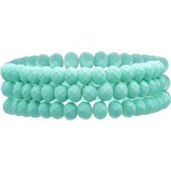 Three Row Aqua Glass Stretch Bracelets