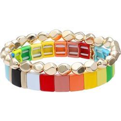 2Pc Rainbow & Gold Tone Stretch Bracele