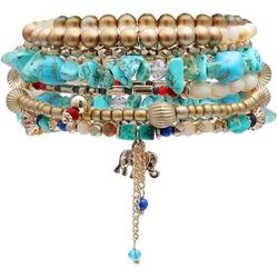 Bay Studio 5 Pc Beaded Elephant Stretch Bracelet Set