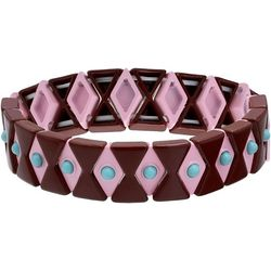 Bay Studio Pink Multi T Link Stretch Bracelet