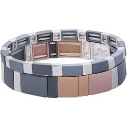 Bay Studio 2 Pc Multi Tone Tile Stretch Bracelet Set