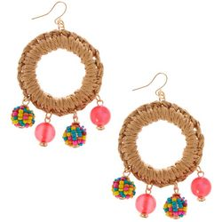 Bay Studio Large Raffia Ring Bead Dangle Earrings