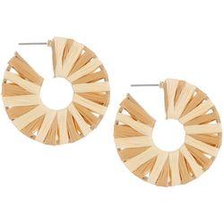 Bay Studio Natural Raffia Wrapped Hoop Earrings