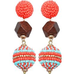Bay Studio Tropical Coral Triple Drop Earrings