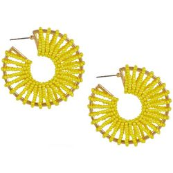 Bay Studio Yellow Seedbead Wrapped C Hoop Earring