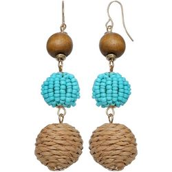 Bay Studio Seedbead & Raffia 3 Bead Drop Earrings