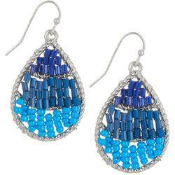 Bay Studio Silver Tone Blue Woven Bead Teardrop Earrings