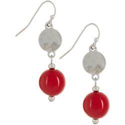 Bay Studio Silver Tone Red Bead Drop Earrings