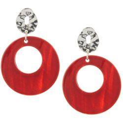 Bay Studio Red Shell Round Drop Earrings