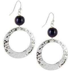 Bay Studio Silver Tone Bead & Hoop Drop Earrings
