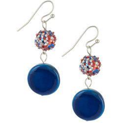 Bay Studio Americana Glitter Ball Double Drop Earrings