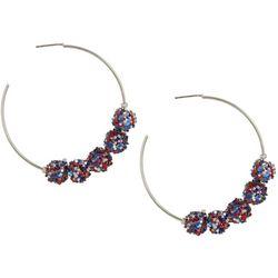 Bay Studio Silver Tone Americana Glitter Ball Hoop Earrings