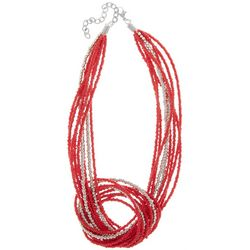 Bay Studio Multi Row Red Seed Bead Knot Necklace